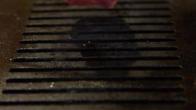 Гриль говядины замедленного движения на горячем угле Японское мясо жаркого стиля BBQ Yakiniku акции видеоматериалы