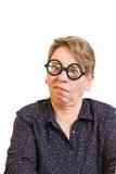 Гримасничая стекла женщины толстые Стоковое Изображение RF