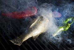 Гриль рыб и овоща Стоковое фото RF