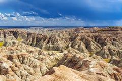 Гроза в неплодородных почвах, Южной Дакоте, США стоковая фотография