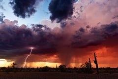 Гроза и молния на заходе солнца стоковая фотография rf