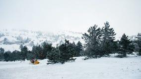Громкая машина и тихая природа Ai-Petri, Крым Стоковые Фотографии RF