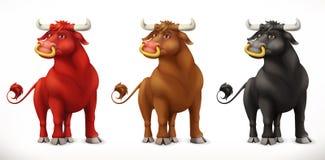 громоздкого Животное в китайском зодиаке, китайский календарь вола вектор 3d иллюстрация штока