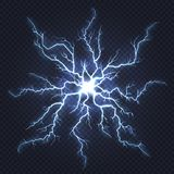 Гром молнии Внезапное электричество, забастовка искры, пирофакел голубых светлых блицев электрический, молния природной энергии в бесплатная иллюстрация