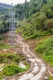 Грубая дорога грязи в области республики Adygea, зоне сельской местности и горы Краснодара, России Стоковая Фотография