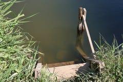 Грубые деревянные лестницы при поручни сделанные доск на береге пруда стоковое фото