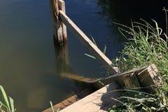 Грубые деревянные лестницы при поручни сделанные доск на береге пруда стоковые фото