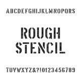 Грубый шрифт алфавита восковки Поцарапанный тип письма и номера иллюстрация штока
