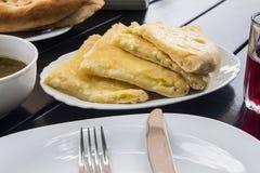 Грузинский пирог с сыром, khachapuri Стоковые Фото