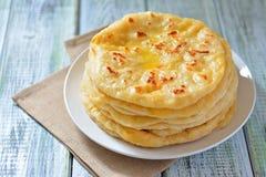 Грузинское khachapuri плоский торт с сыром Стоковое фото RF