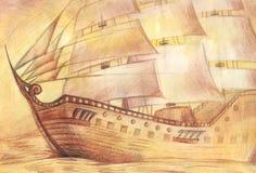 Грузите в море, нарисованном с покрашенными карандашами на бумаге в старом styl Стоковые Фотографии RF