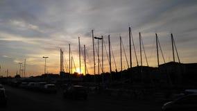 Грузит заход солнца Стоковое Изображение RF