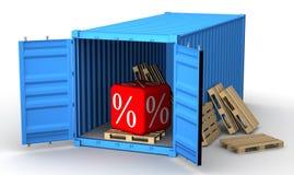 Грузовой контейнер заполненный с discoun процентов иллюстрация вектора