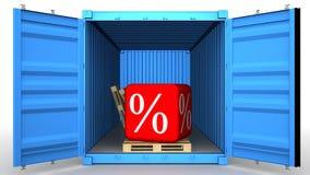 Грузовой контейнер заполненный с discoun процентов иллюстрация штока