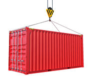 Грузовой контейнер при крюк изолированный на белизне иллюстрация штока