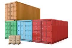 Грузовой контейнер с коробками иллюстрация штока