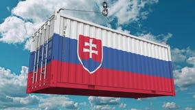 Грузовой контейнер с флагом Словакии Импорт или экспорт словаков связали схематический перевод 3D стоковая фотография rf