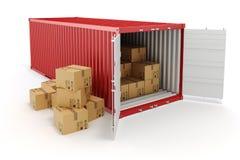грузовой контейнер 3d и коробки иллюстрация вектора