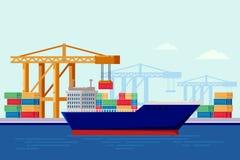 Грузовой корабль в порте, иллюстрации вектора плоской Доставка груза моря, склад и логистическая концепция индустрии иллюстрация вектора