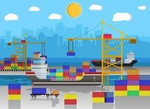 Грузовой корабль, кран контейнера, тележка Снабжение порта Стоковое Изображение