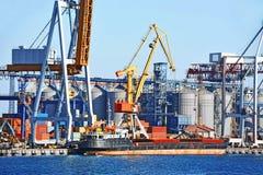 Грузовой корабль насыпного груза под краном порта Стоковое Фото