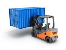 Грузоподъемник регулируя контейнер грузовых перевозок изолированный на белой предпосылке 3d для того чтобы представить иллюстрация штока