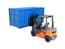 Грузоподъемник регулируя контейнер грузовых перевозок изолированный на белой предпосылке 3d для того чтобы представить без тени иллюстрация штока