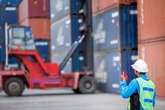 Грузоподъемник управлением мастера регулируя коробку контейнера Стоковая Фотография