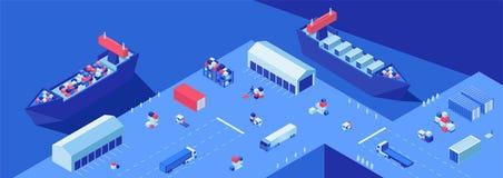 Грузя иллюстрация вектора двора равновеликая плоская Транспорт пересылки, импорт и экспорт, морская доставка иллюстрация вектора