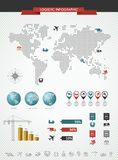 Грузя логистические infographic установленные значки карты мира  Стоковое Изображение RF