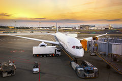Груз загрузки на самолете в авиапорте стоковые изображения
