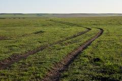 Грунтовая дорога замотки через поля фермы Стоковые Изображения RF