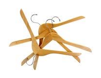 Группа вешалок крепкая деревянная на белизне Стоковое фото RF