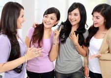 Группа в составе беседовать друзей женщин Стоковые Изображения