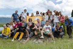 Группа в составе больших и потехи путешественники на Африке Стоковое Изображение