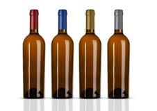 Группа в составе бутылки белого вина без ярлыка Стоковые Изображения RF