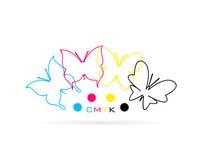 Группа в составе вектора бабочка покрасила печать cmyk Стоковое Изображение RF