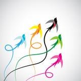 Группа в составе вектора красочные птицы ласточки Стоковые Изображения