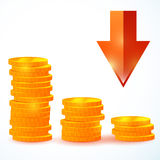 Группа в составе вектора монетки вниз Стоковые Изображения