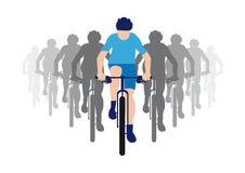 Группа в составе велосипедисты с руководителем группы в голубом jersey гонок, значке велосипедиста иллюстрация штока