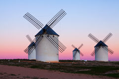 Группа в составе ветрянки на поле в вечере Стоковые Изображения
