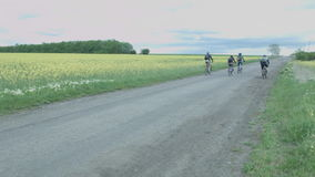 Группа в составе велосипедисты путешествует вдоль дороги за желтым полем Разрешение туристов на велосипедах на дороге сток-видео