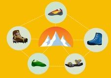 Группа в составе взбираясь ботинки с горой иллюстрация штока