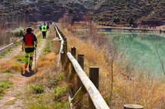 группа в составе взрослые люди с красочным рюкзаком trekking на пути песка и камней идя в отдельный файл рядом с защищенным озеро стоковое изображение