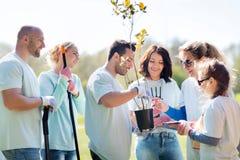 Группа в составе волонтеры засаживая деревья в парке Стоковые Изображения RF
