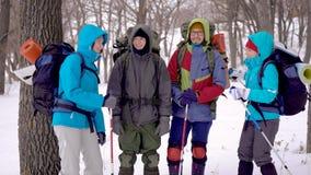 Группа в составе говорить счастливые Hikers сток-видео