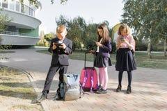 Группа в составе дети 7, 8 лет с мобильными телефонами, школьниками с рюкзаками смотря в смартфоны стоковые изображения