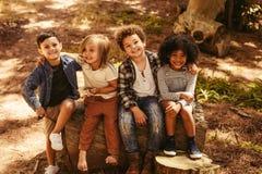 Группа в составе дети на деревянном журнале стоковая фотография