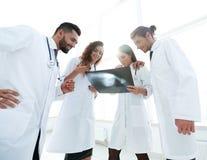 Группа в составе доктора обсуждая рентгеновский снимок Стоковые Изображения RF