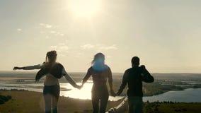 Группа в составе друзья держит руки и идти на луг захода солнца лета, замедленное движение видеоматериал